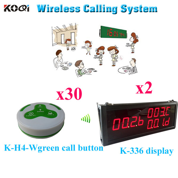 Communication System Waitress Buzzer For Service Call In Restaurant ( 2pcs display+ 30pcs call button)(China (Mainland))