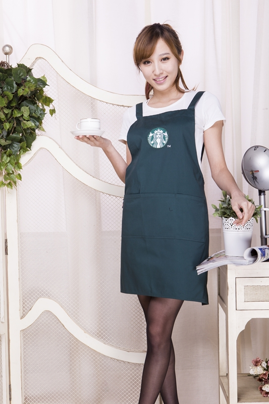New! Home cooking tools kitchen accessories apron Custom high-end Starbucks Cafe aprons Cotton free shipping(China (Mainland))