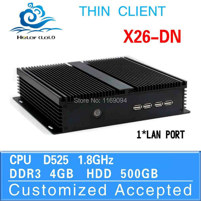 Promotional price  Various Colors family computer htpc fanless mini pcs X26 DN D525 4G ram