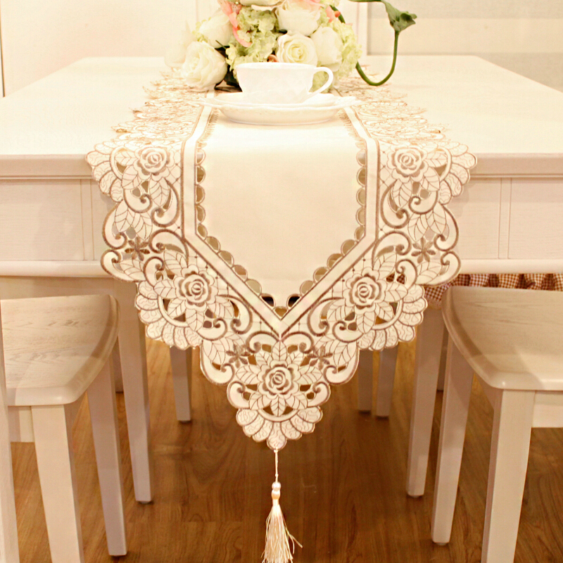 Tablecloths coffee table runner tablecloth table bed counter hollow embroidered cloth placemat Coffee table tablecloth
