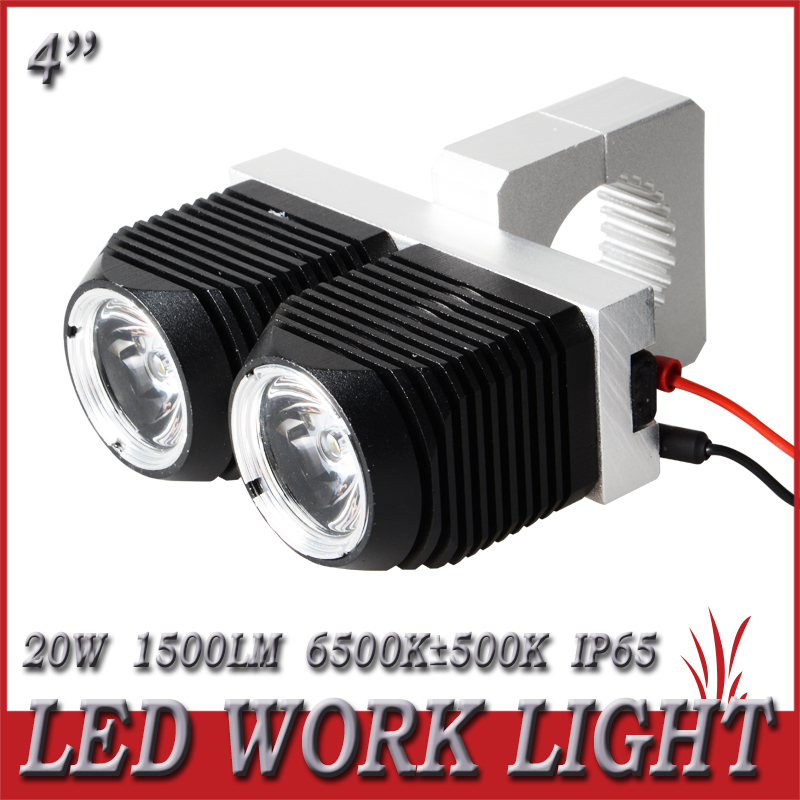 New Arrival 1 Pair 20W LED Work Light Spot Beam Lamp Bulb For SUV Offroad Jeep 4X4 Truck Boat Drive Driving Motorcycle Headlight(China (Mainland))