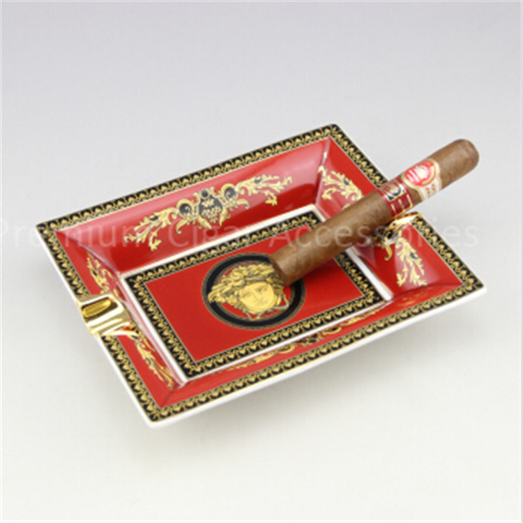 High Quality Luxury Gadgets Antique Red Lace Pattern Beautiful Decorated Ceramic Cigar Ashtray 2 Slot(China (Mainland))