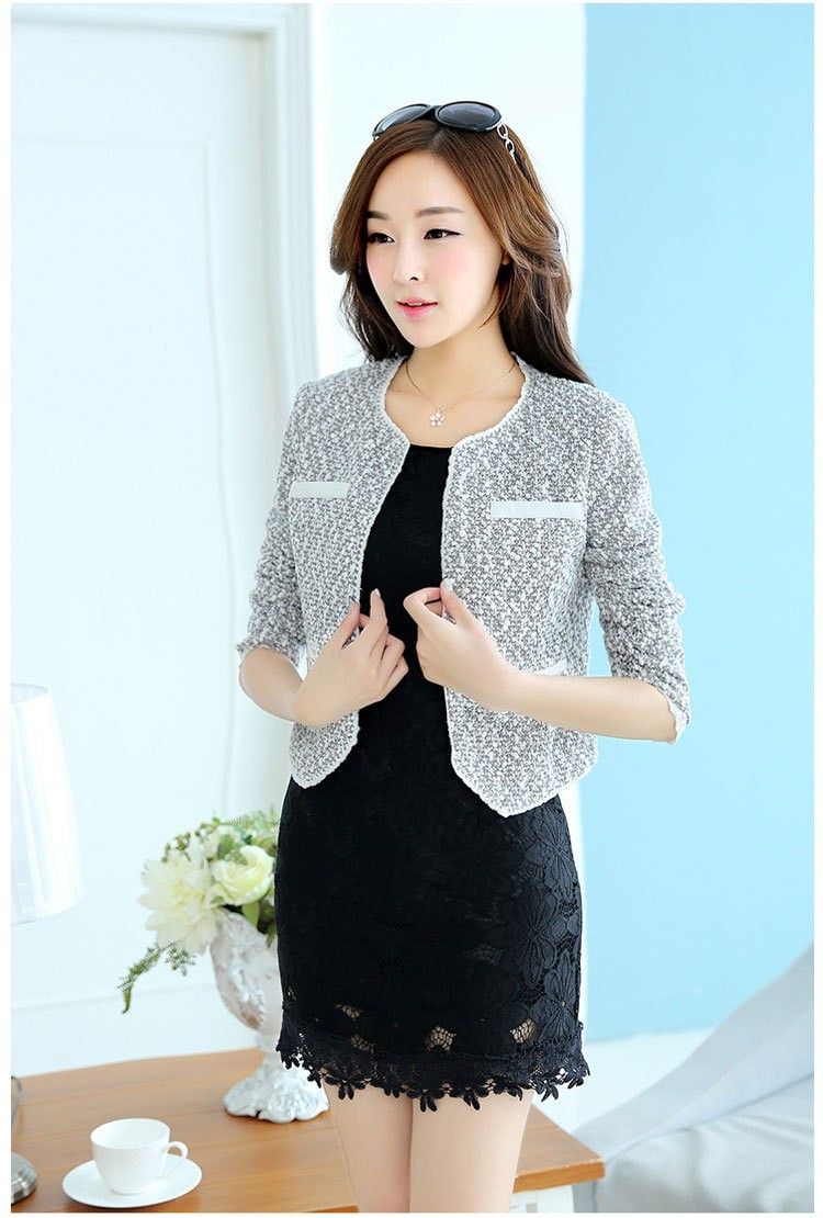 new Vintage Short Paragraph Woolen Jacket Excellent Women Jacket For Parties Glittery Tweed Coats And Beautiful Lace O-Neck