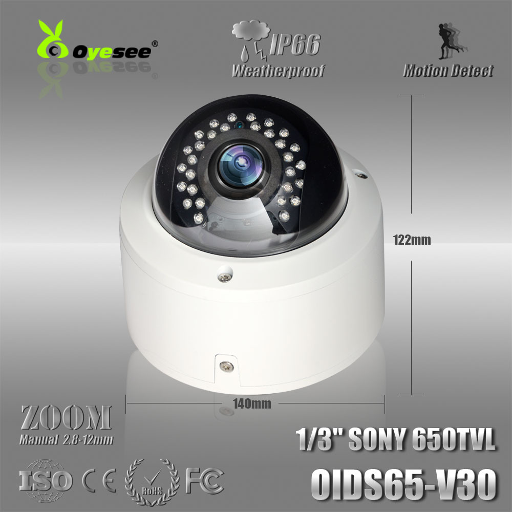 "OIDS65-V30 Free shipping security camera 650TVL 1/3""CCTV Camera Manual Zoom 2.8-12mm Lens Dome Camera buy online cctv camera(China (Mainland))"