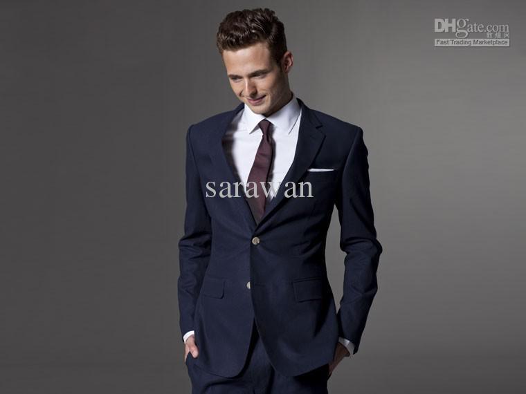 wedding suits for men bespoke light navy blue groom suit men slim fit. Black Bedroom Furniture Sets. Home Design Ideas