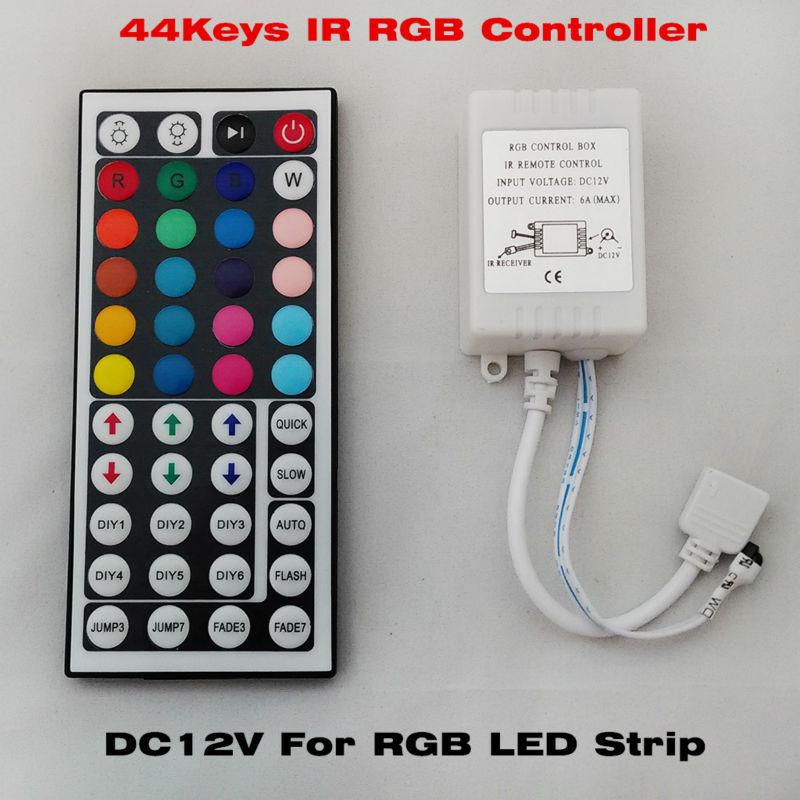 Free shipping 44 Keys LED IR RGB Controler For RGB SMD 3528 5050 LED Strip LED Lights Controller IR Remote Dimmer Input DC12V 6A(China (Mainland))