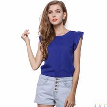 2015 Summer Fashion Womens OL Chiffon Blouse Shirt S-XL Wholesale Ruffle Short Sleeve 4 Colors Tops Blouse Jason2008