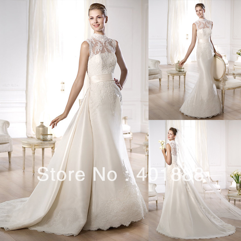 Buy high neck satin lace applique with for Wholesale wedding dress suppliers