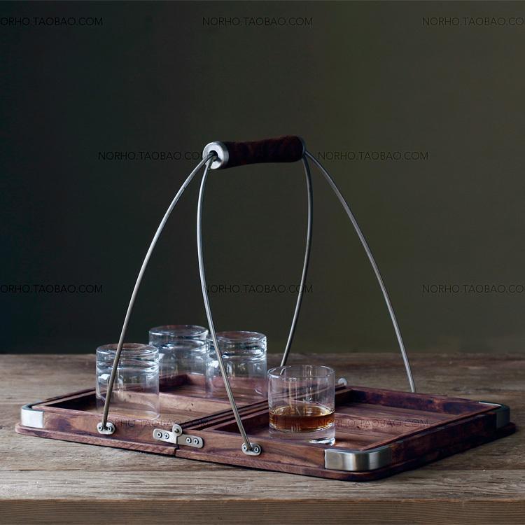 art deco / Ake Dorian rosewood handle tray metal folding tray five sets of old pine wood N(China (Mainland))