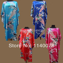 Chinese Traditional Free Size Noble Fine Peacock Pattern Women's Sleep Robes/ Silk Satin Cheongsam Sleepwear for Ladies/ A158(China (Mainland))