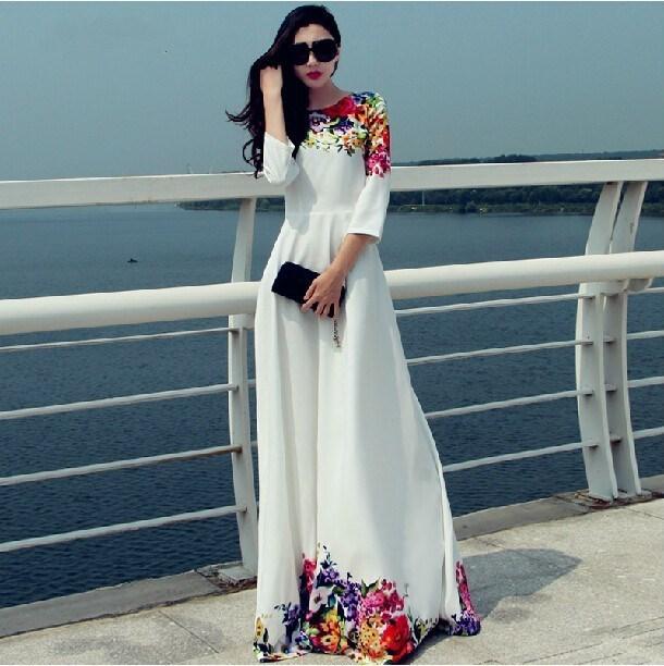 Free shipping Europe 2015 Fashion Women Dress Stitching Long Casual White Summer Dress Mopping Party Dresses Vestidos De Festa(China (Mainland))