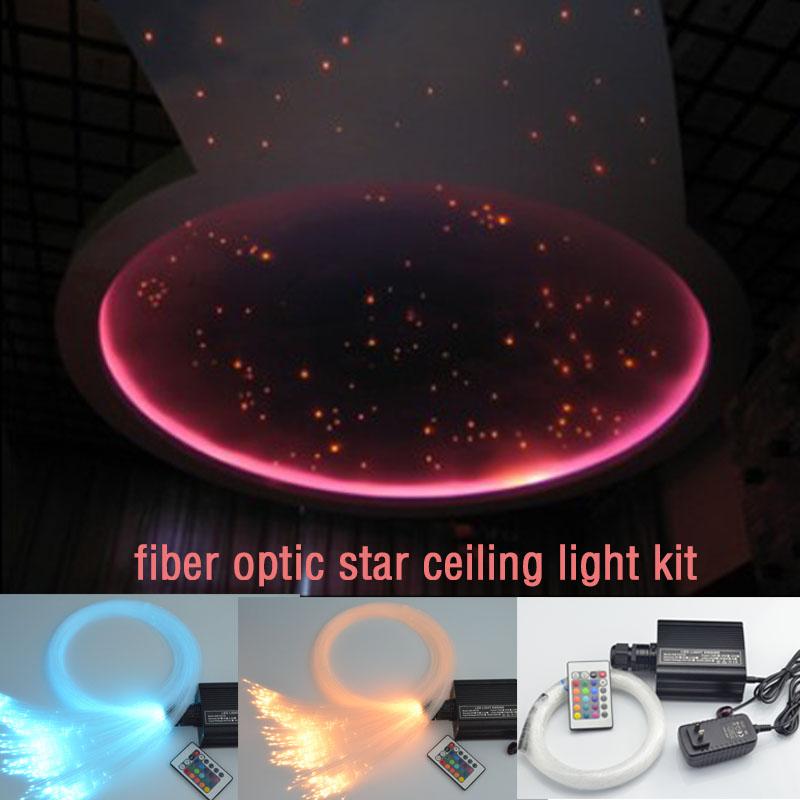 Coloful LED fiber optic star ceiling light kit 0.75mm fiber optic cable end glow 16w RGBW light illuminators Decoration light(China (Mainland))