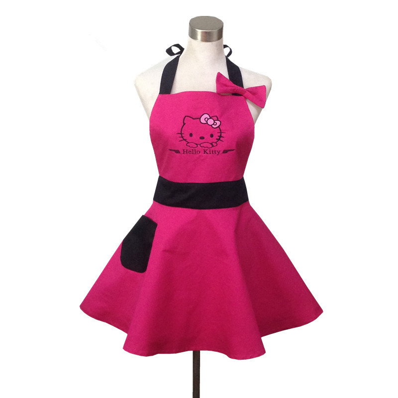 hot pink cute hello kitty kitchen apron for woman avental. Black Bedroom Furniture Sets. Home Design Ideas