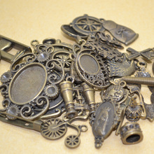 Mix 100pcs pattern charm metal DIY jewelry making