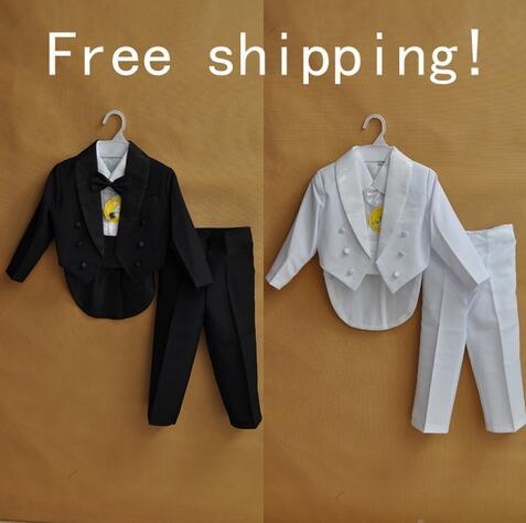Baby boy tuxedo boys suits formal dress set child suit 5 piece set children blazers boys clothing blazers white black 1-4 year(China (Mainland))
