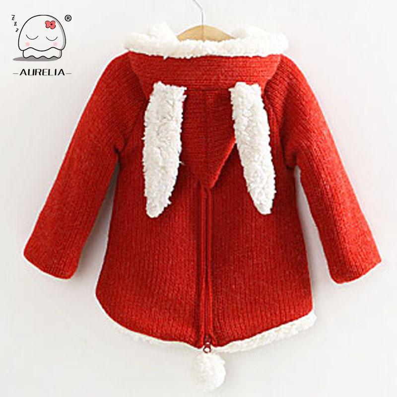 Гаджет  2014 New Children Outwear Girls Winter Lambs Wool Sweater Sweet Cute Girls Coat With Rabbit Ears None Детские товары