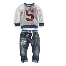 2016 new!children's clothing boys clothes long-sleeved letter hoodie sweater + jeans two sets of casual clothes