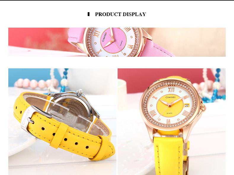 Comtex fashion Ladies watch Casual Yellow Leather Silver Case watch watches women Quartz wristwatch Calendar relogio clock gift