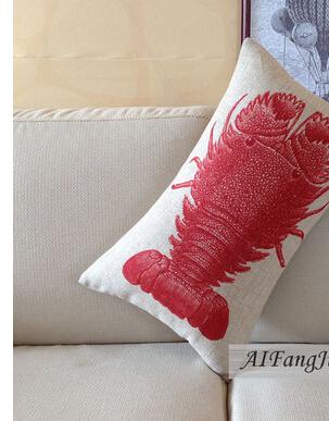 30 * 50 cm grátis frete Red Lobster Sealife marinha frutos do mar fronha decorativa capa de almofada(China (Mainland))