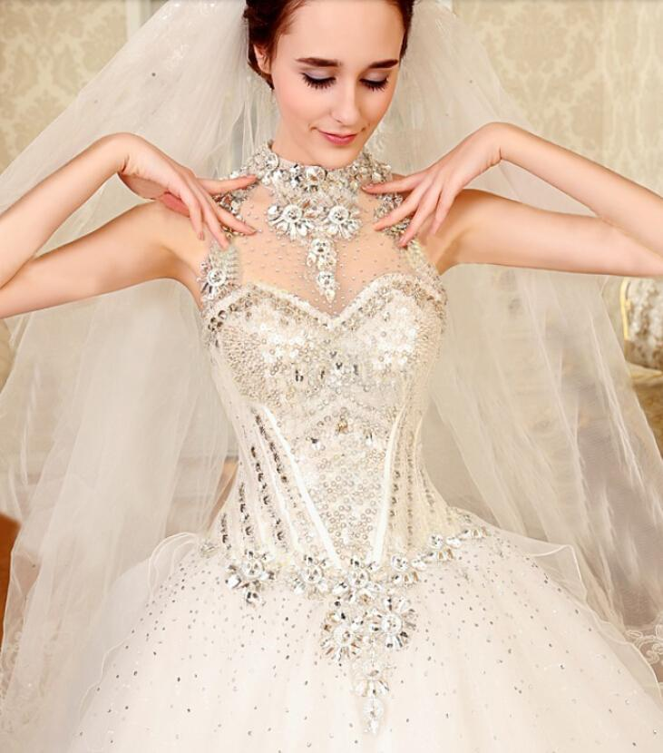2015 Fashion sleeveless Elegant wedding diamond beads sequins bowknot trailing restoring ancient ways bride dress - sunslove888 store
