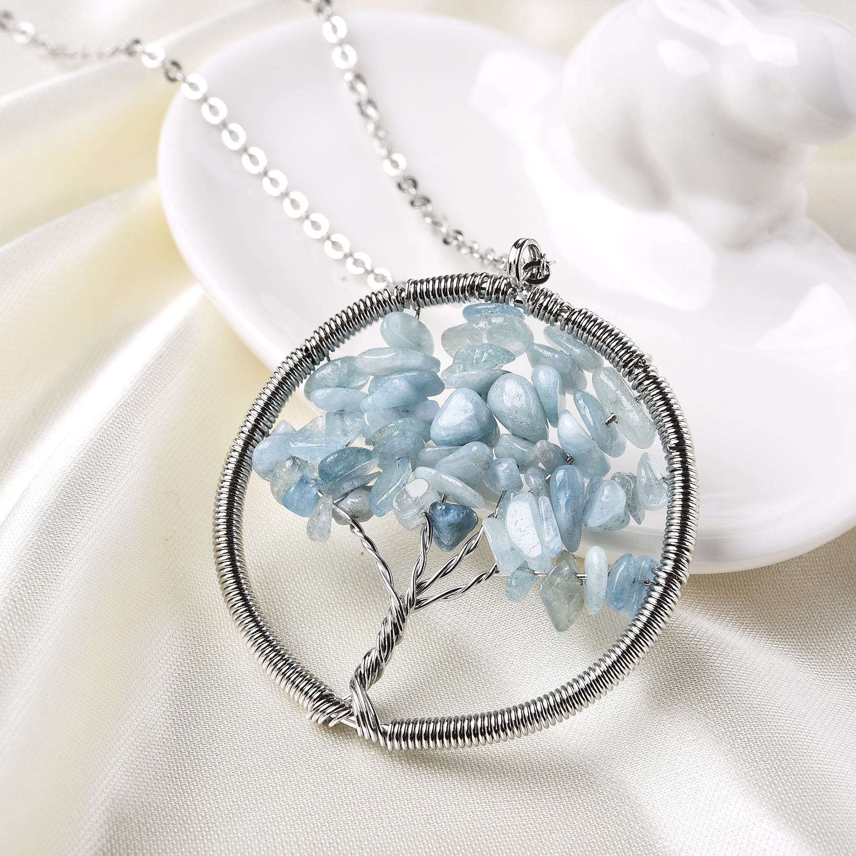 New Arrival Long Necklaces Women Natural Stone Necklaces Tree Of Life Pendant Necklaces For Women Wisdom Tree Necklaces Jewelry(China (Mainland))