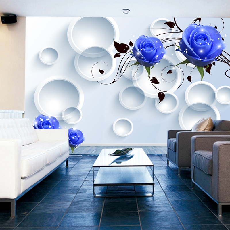 3d stereoscopic large mural wallpaper blue rose floral for Best 3d wallpaper for bedroom