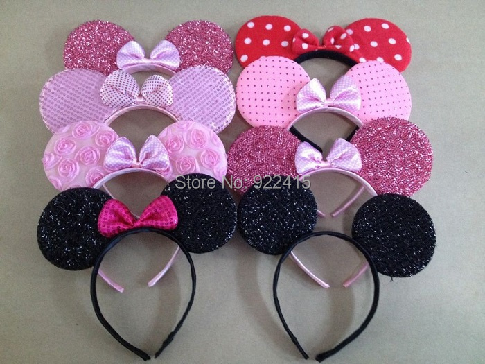 1kid's hair accessories Minnie Mouse Ears headband pink red bow headwear Boys Girls Birthday Party Celebrations - Kailon Party&Cosplay products Co., Ltd store