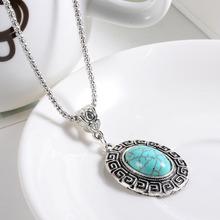 Бесплатная доставка Новое Прибытие Мода Зеленый Бирюзовый Tibetant Серебро кристалл горного хрусталя синий Кулон Ожерелье ювелирные изделия для Женщин(China (Mainland))