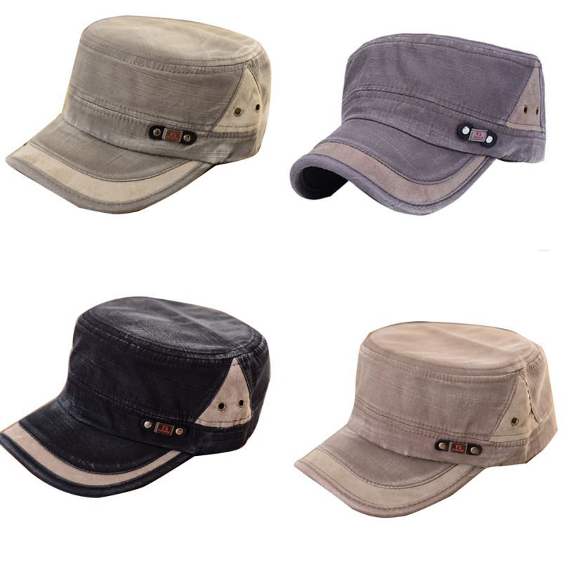New Arrival Casual Flat-top Canvas Baseball Cap Color Block Vintage Military Unisex Hat(China (Mainland))