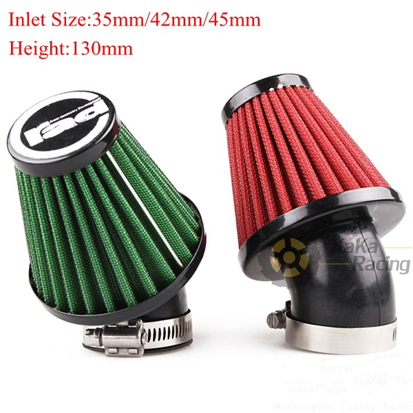 Free Shipping 35mm/42mm/45mm Inlet 130mm Height Motorcycle Scooter GY6 Modified Mushroom Head Air Filter Cleaner Red/Green Color(China (Mainland))