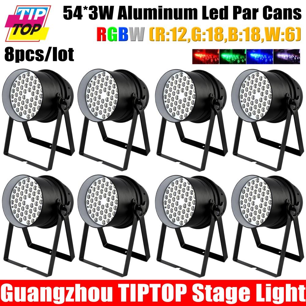 8pcs/lot 54pcs*3W LED Par64 Light RGBW single color DMX512 8CH Led Par can 180W Big Power Led par cans Stage Light DJ Equipments(China (Mainland))