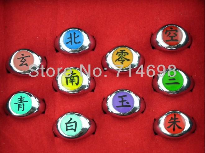 Naruto Cosplay Akatsuki Ninja Nagato Uchiha Itachi Deidara Sasori Kakuzu Orochimaru Zetsu Hidan Finger Ring Bague 10 Pcs/Set(China (Mainland))
