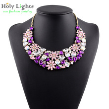 Multicolor Gem resin Rhinestone necklace Newest Fashion collar mujer Alloy choker Collar statement Necklace women accessories (China (Mainland))