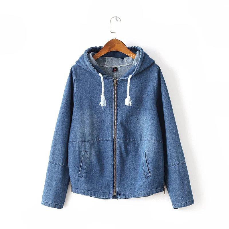 Denim Jacket New Sale 2017 Chinese Mori Girl Women Zipper Hoodies Large Pockets Thin Solid Color Coat Fashion Jackets Wear(China (Mainland))