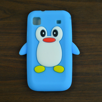 For Samsung Galaxy S i9000 9000 i9001 Galaxy S Plus,Cute Cartoon 3D Penguin Silicon Soft Back Cover Skin Case +free gift