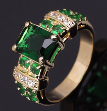 Jewelry Fashion  Size 6,7,8,9,10 New Lady's Gorgeous Green Emerald Cz 18K Yelow Gold Filled Engagement Ring Gift  Free Shipping