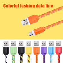 1M/2M/3M Fabric Nylon Braided Micro USB Cable Charger Data Sync USB Cord Wire For Samsung Galaxy Xiaomi HTC  8 Colors Available(China (Mainland))