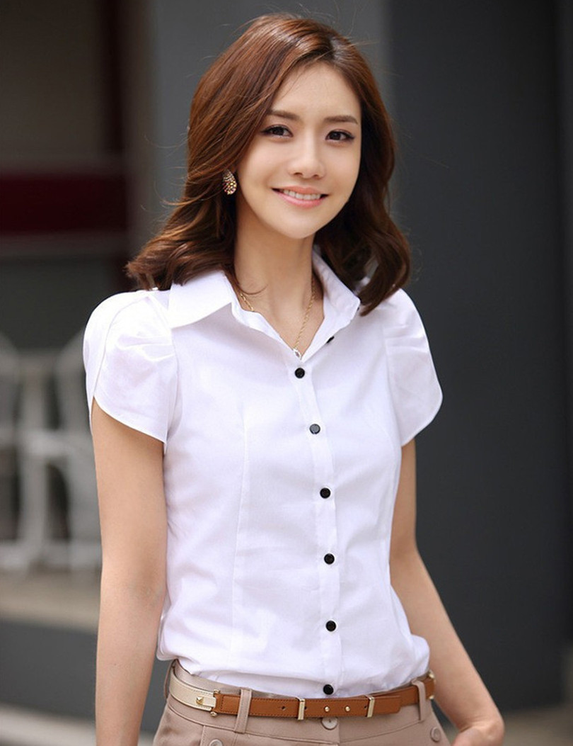 Hot Sales Blusas 2015 New Women's Fashion Office Shirt Lapel Puff OL Slim White Short-Sleeved Business Casual Shirt Women Blouse(China (Mainland))