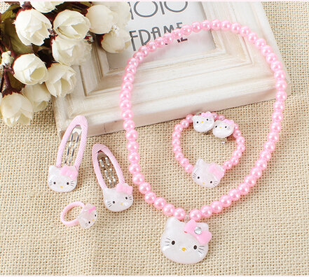 Cheap Pearl Jewelry Set Lovely Pink Children Pearl Jewelry Sets Necklace Bracelet Hairpin Ring Hello Kitty African Beads(China (Mainland))