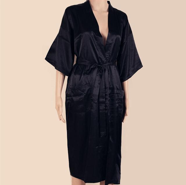 Сексуальная новый черный мужчин шелковые с кимоно одеяние платье сплошной цвет пижамы ...