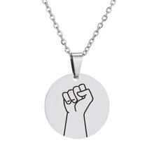 SMJEL ręcznie ze stali nierdzewnej Charm naszyjniki kobiety mężczyźni gest przysiąc, że ręcznie kocham cię wisiorek naszyjnik okrągły biżuteria prezent dla par(China)