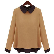 hot saleUS & UK Style Patchwork Long Sleeve Women Chiffon Blouse Plus Size S-3XL Cute Peter Pan Collar Design Lady Soft Shirt  (China (Mainland))