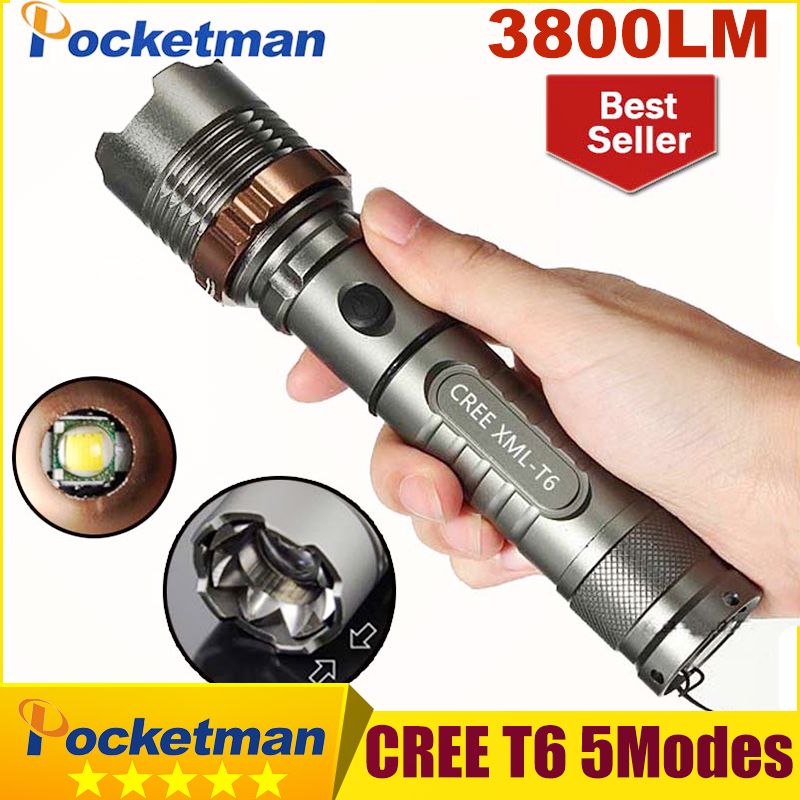 3800lm CREE XM-L T6 5modes LED Tactical Flashlight Torch Waterproof Hunting Flash Light Lantern zaklamp taschenlampe torcia zk93(China (Mainland))