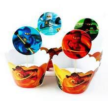 24 шт. в маске ниндзя мастер Phantom вращения Волшебная обертка для кексов фигурка для торта украшения мультфильм день рождения детей, мальчика ...(China)