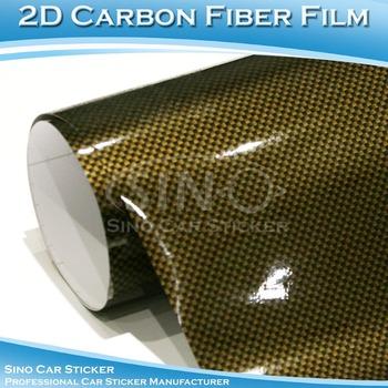 1.52x30M 5x98FT Gold-Black 2D Carbon Fiber PVC Vehicle Coverring  Films