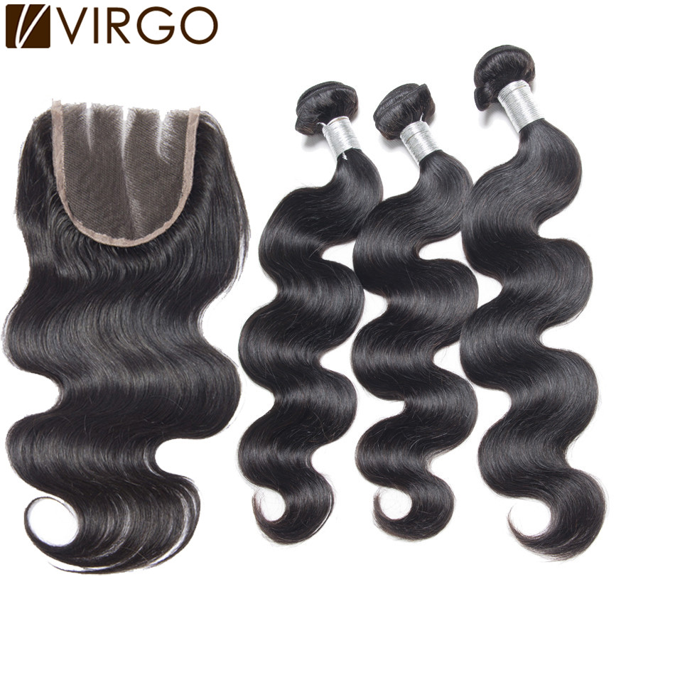Indian Virgin Hair With Closure Rosa Hair Products 3Pcs Lot Indian Body Wave With 1pc Top Lace Closure 4Pcs Lot Natural 1B#