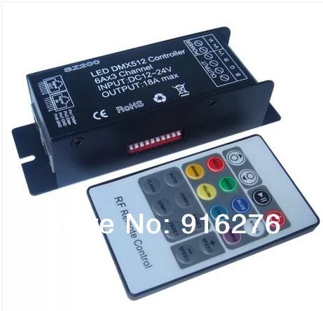 Wholesale Led DMX512 Controller DMX Decoder Controller DC 12V 24V 18A DMX512 Decoder DMX + RF remote controller Free Shipping(China (Mainland))