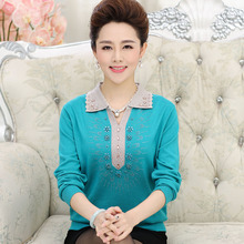 New 2016 middle-aged women's sweaters autumn and winter long-sleeved knit shirt lapel loose cashmere sweater Plus Size women(China (Mainland))