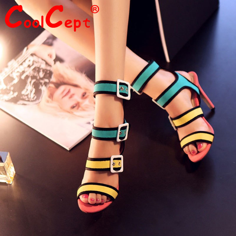 women real genuine leather bohemia neon color party high heel sandals sexy fashion brand heeled ladies shoes size 34-39 R6710<br><br>Aliexpress
