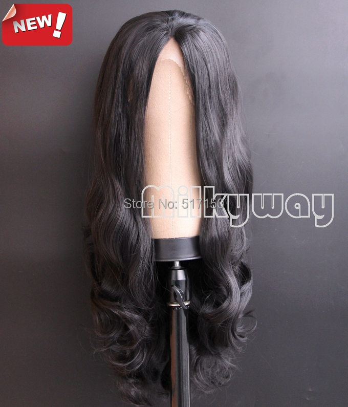 Free Shipping Heat Resistant Natural Long dark brown Glueless Body wave Synthetic Lace Front wig<br><br>Aliexpress